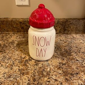 Rae Dunn Baby Snow Day Christmas canister with red toque